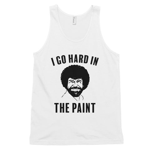 funny basketball tank tops - white Bob Ross I Go Hard In The Paint