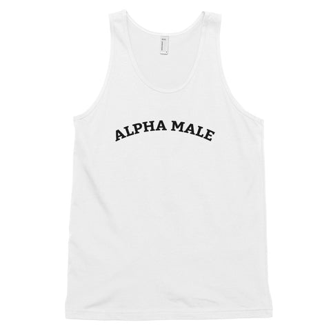 Funny Meme Tank Tops 🙃– Alpha Male (WHITE / GREY)