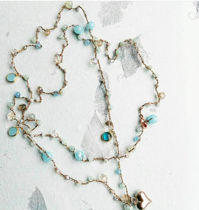 Crochet necklace - Blue crystals