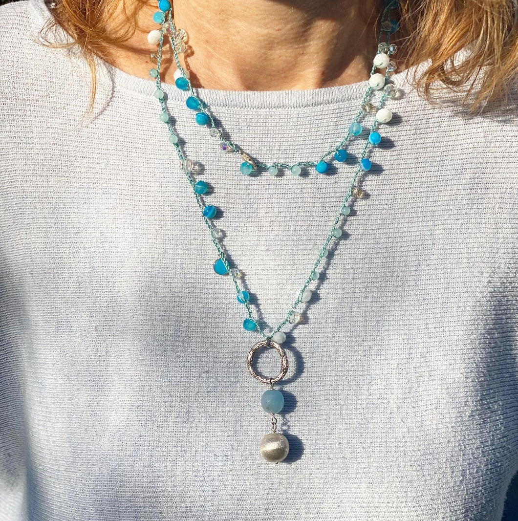 Crochet necklace - Light blue