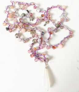 Crochet necklace - Pink & Grey