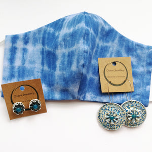 Cotton face mask & Nespresso coffee pod earrings