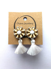 Load image into Gallery viewer, Nespresso coffee pod studs and tassel earrings small