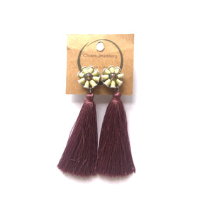 Nespresso coffee pod studs and tassel earrings long