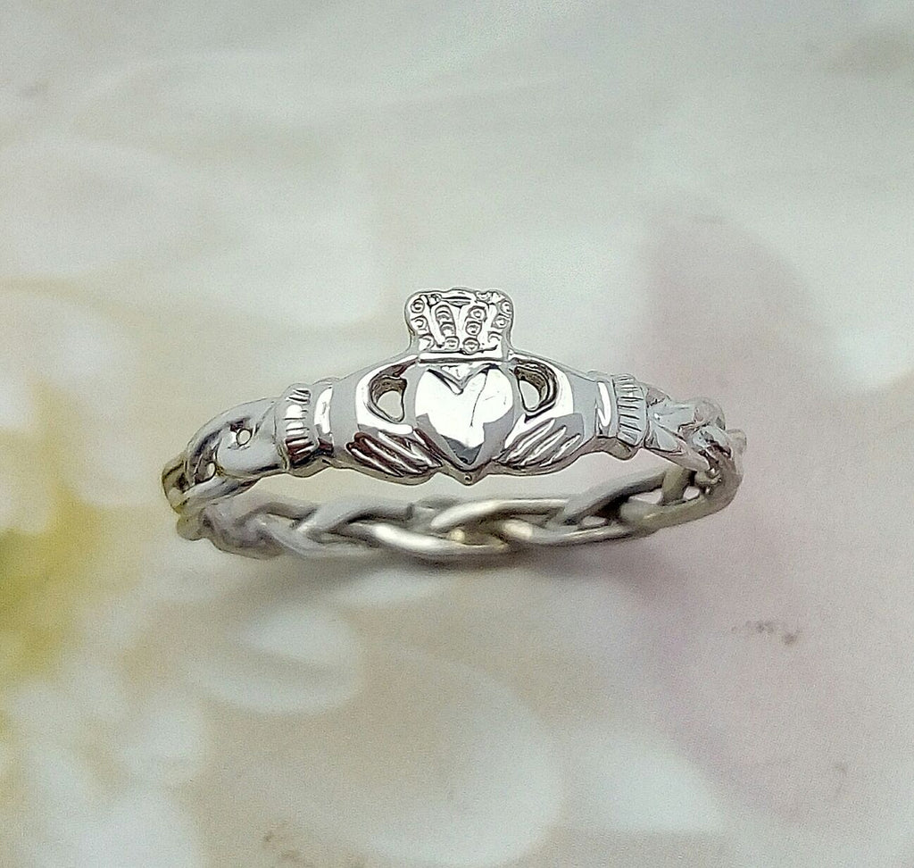 White gold Claddagh ring, ladies claddagh ring on celtic rope band.