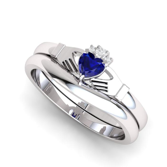 sapphire and diamond claddagh ring. Diamond crown.
