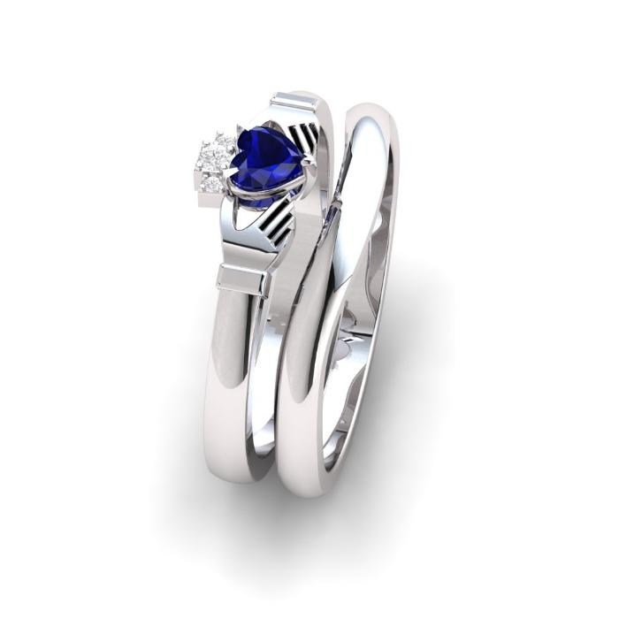 Sapphire and diamond claddagh ring with gently curved wedding ring.