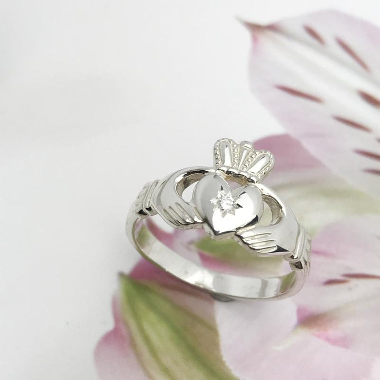 irish claddagh ring with diamond