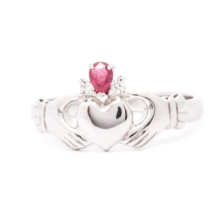 Claddagh ring, Ruby and Diamond 14K Gold Claddagh ring.