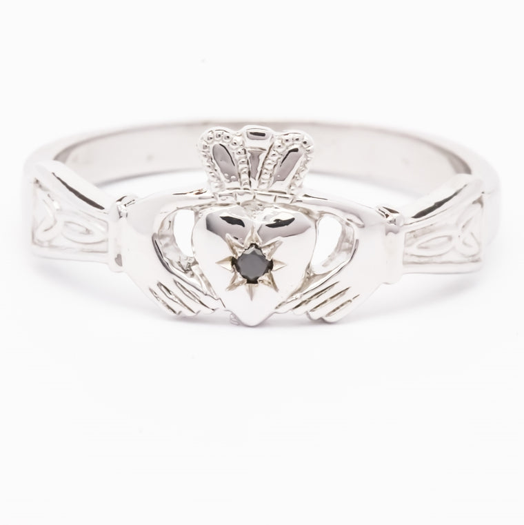 Ladies black diamond silver claddagh ring