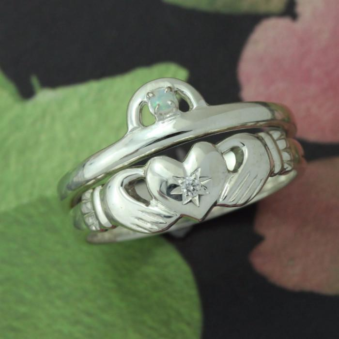 Claddagh Ring, Diamond And Opal Claddagh Ring. Matching Claddagh Ring Set.