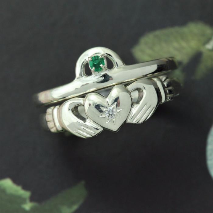 Claddagh Ring, Emerald And Diamond Claddagh Ring. Matching Claddagh Ring Set.