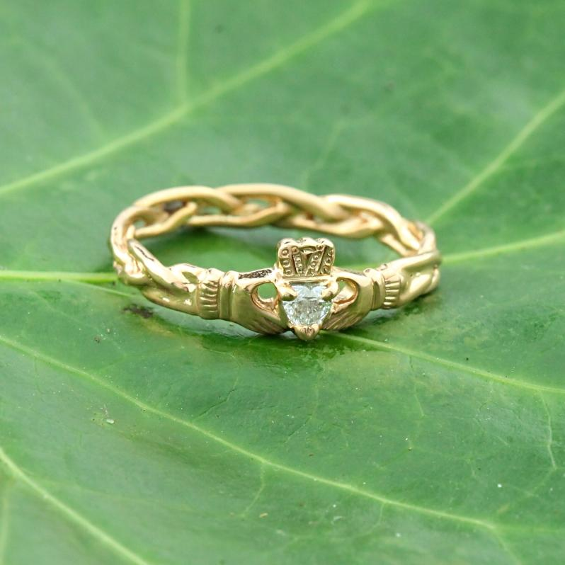 Diamond Claddagh Ring. 14K Rose Gold Heart Shaped Diamond Claddagh.