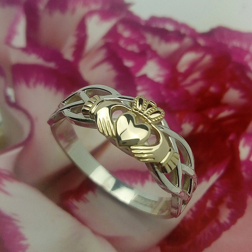 10K yellow Gold Claddagh on a silver celtic rope band.