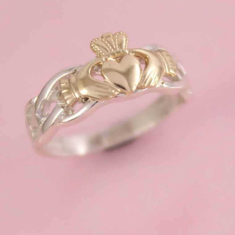 Jewelry - 10K Yellow Gold Claddagh On A Silver Celtic Rope Band.