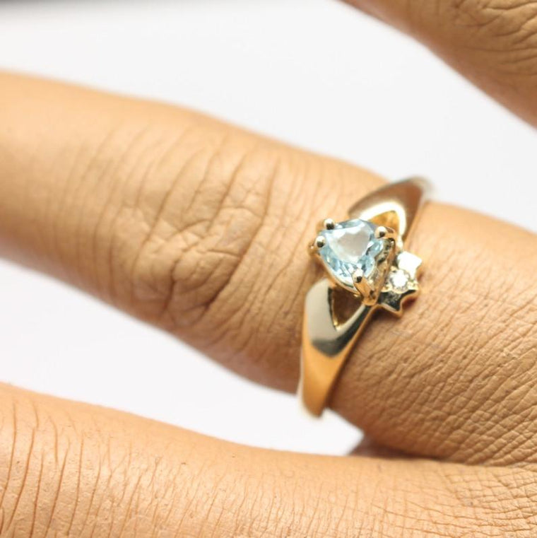 Jewelry - 14K Claddagh Ring, Real Sky Blue Topaz And Diamond Contemporary Claddagh Ring