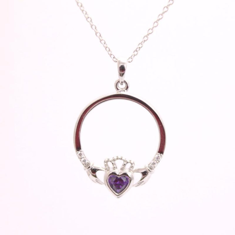 Jewelry - Amethyst  Claddagh Necklace, Silver Irish Celtic Necklace