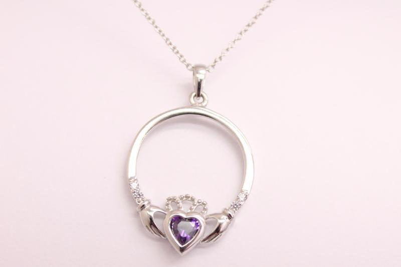Amethyst claddagh necklace silver irish celtic necklace irish jewelry amethyst claddagh necklace silver irish celtic necklace aloadofball Image collections