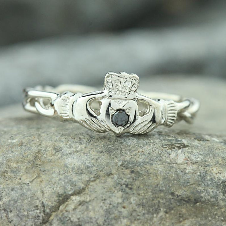 Jewelry - Black Diamond Claddagh Ring, Ladies Silver Diamond Claddagh Ring On Celtic Rope Band.