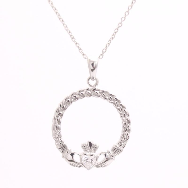 Jewelry - Braided Style Claddagh Necklace, Silver Irish Celtic Necklace With A Clear Heart Shape Stone.