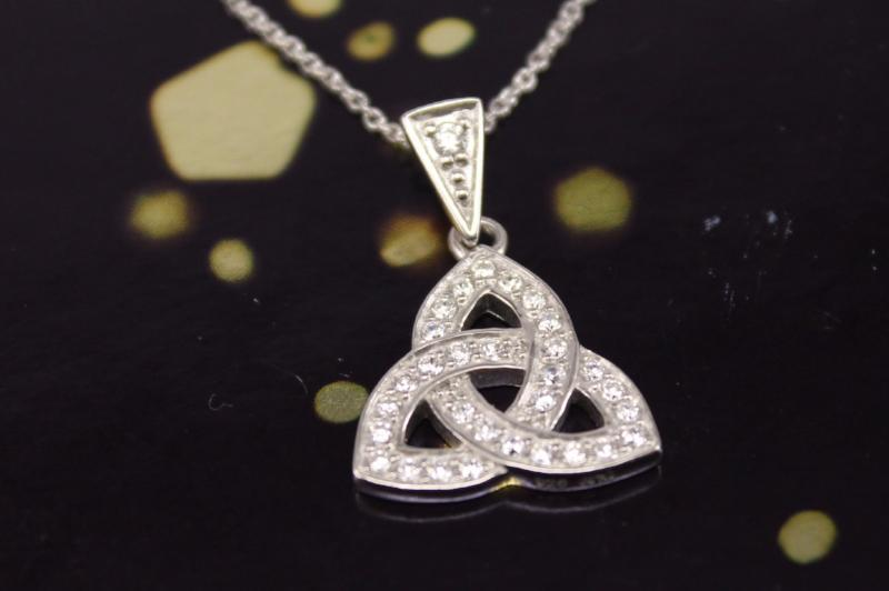Jewelry - Celtic Necklace, Silver Irish Celtic Knot Necklace With Sparkling Stones.
