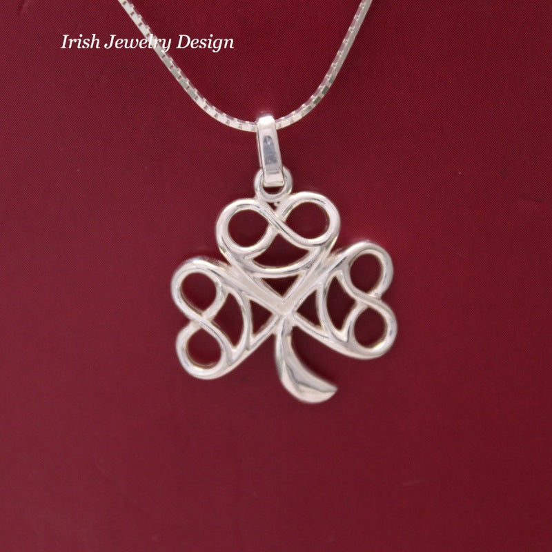 Jewelry  - Celtic Necklace, Silver Irish Celtic Necklace, Irish Shamrock.