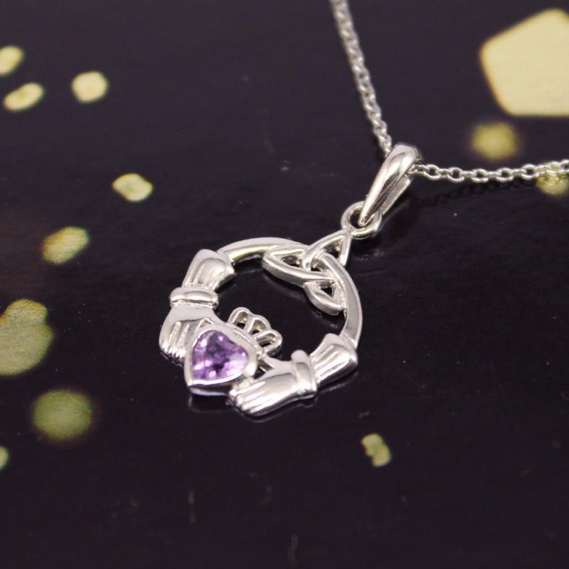 Jewelry - Claddagh Necklace, Silver Irish  Amethyst Celtic Necklace