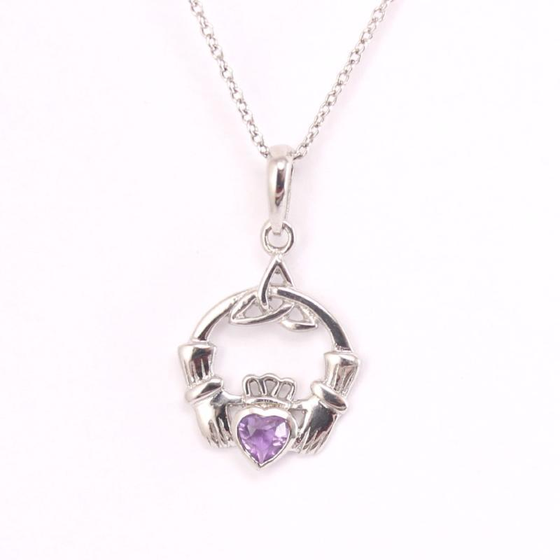 Claddagh necklace silver irish amethyst celtic necklace irish jewelry claddagh necklace silver irish amethyst celtic necklace aloadofball Image collections