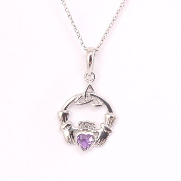 Claddagh Necklace Silver Irish Amethyst Celtic Necklace