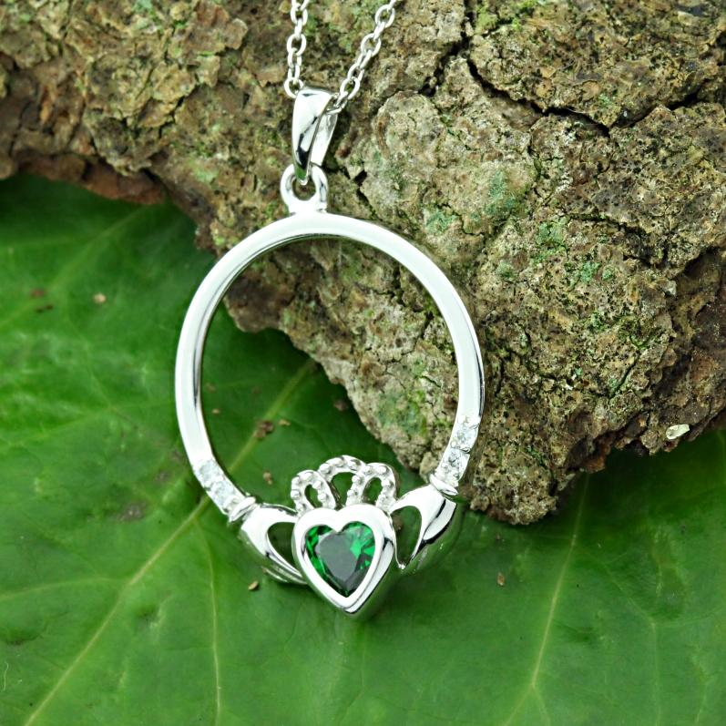 Jewelry - Claddagh Necklace, Silver Irish Celtic Necklace