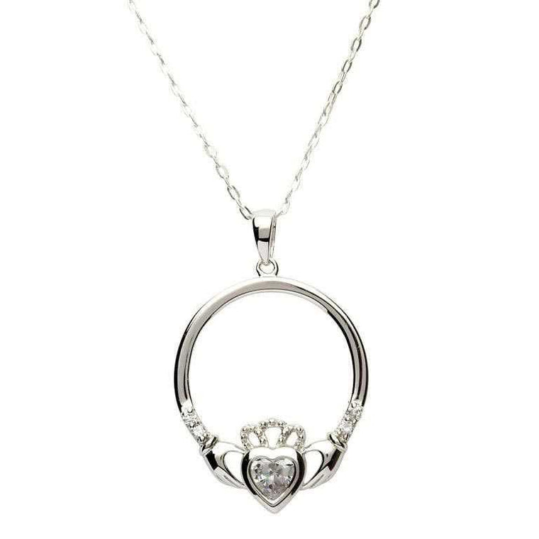 Jewelry - Claddagh Necklace, Silver Irish Celtic Necklace With Sparkling Stones.