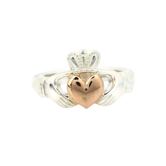 Claddagh ring 14K rose gold heart and silver band Irish claddagh