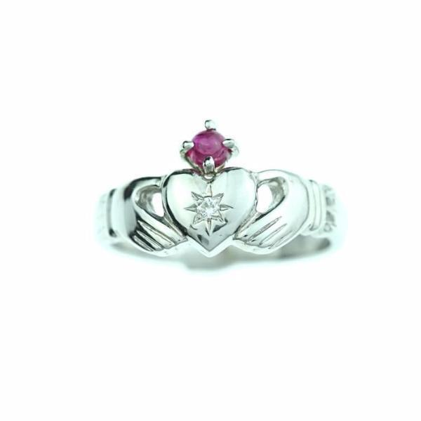 Jewelry - Claddagh Ring, Diamond Claddagh Ring Featuring A Ruby Gemstone Crown.