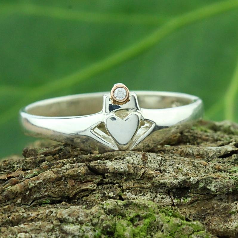 Jewelry - Claddagh Ring, Diamond Claddagh Ring With Rose Gold Bezel Crown.