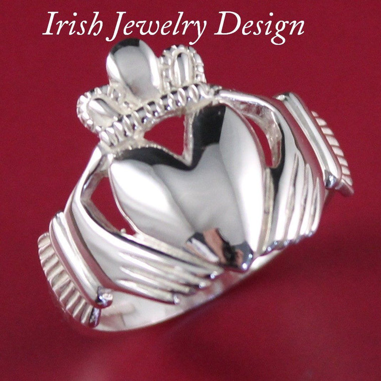 Jewelry  - Claddagh Ring, Gents Silver Claddagh Ring, Heavy Weight. King Claddagh