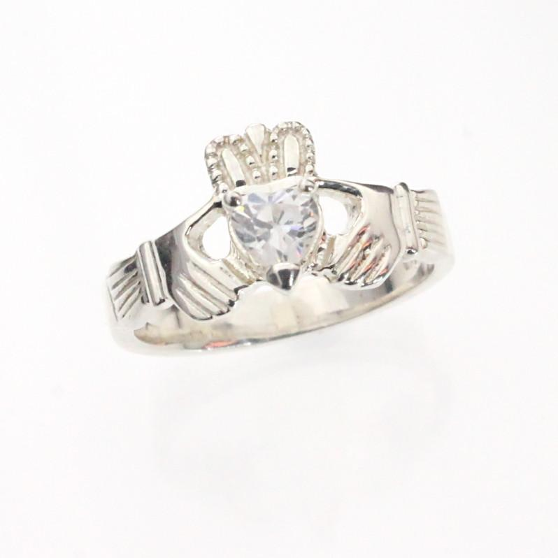 Jewelry - Claddagh Ring, Ladies Claddagh Ring, Set With A Sparkling Cubic Zirconia.