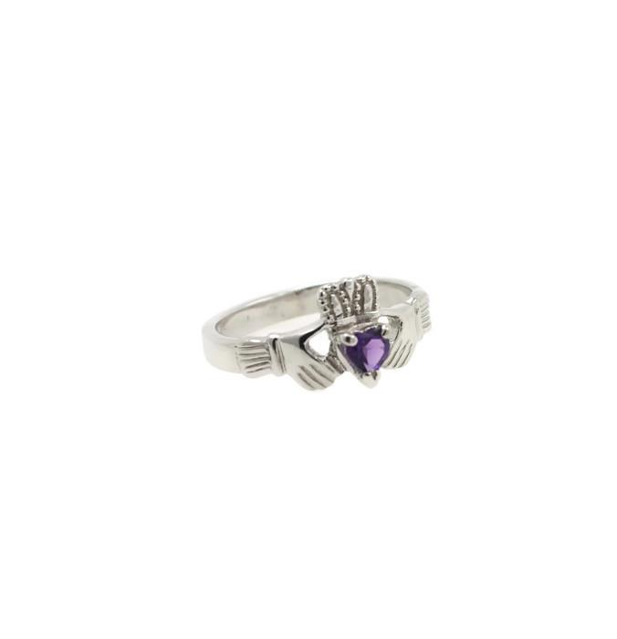 Jewelry - Claddagh Ring, Ladies Claddagh Ring, Set With Real Natural Amethyst Gemstone.