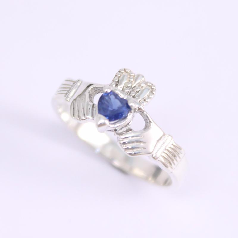 Jewelry - Claddagh Ring, Ladies Claddagh Ring, Set With Real Natural Beautiful Sapphire Gemstone.