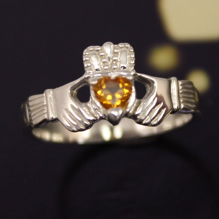Jewelry - Claddagh Ring, Ladies Claddagh Ring, Set With Real Natural Citrine Gemstone.