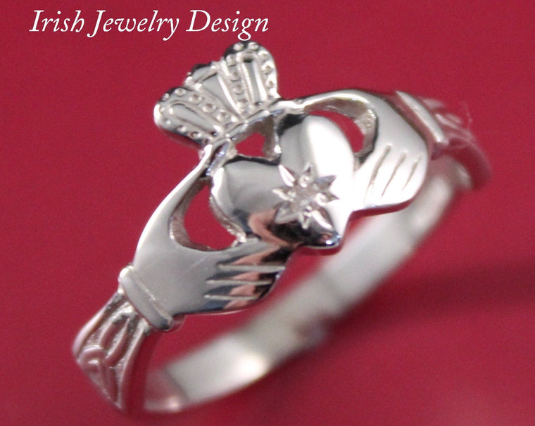 Jewelry  - Claddagh Ring, Ladies Diamond Silver Claddagh Ring