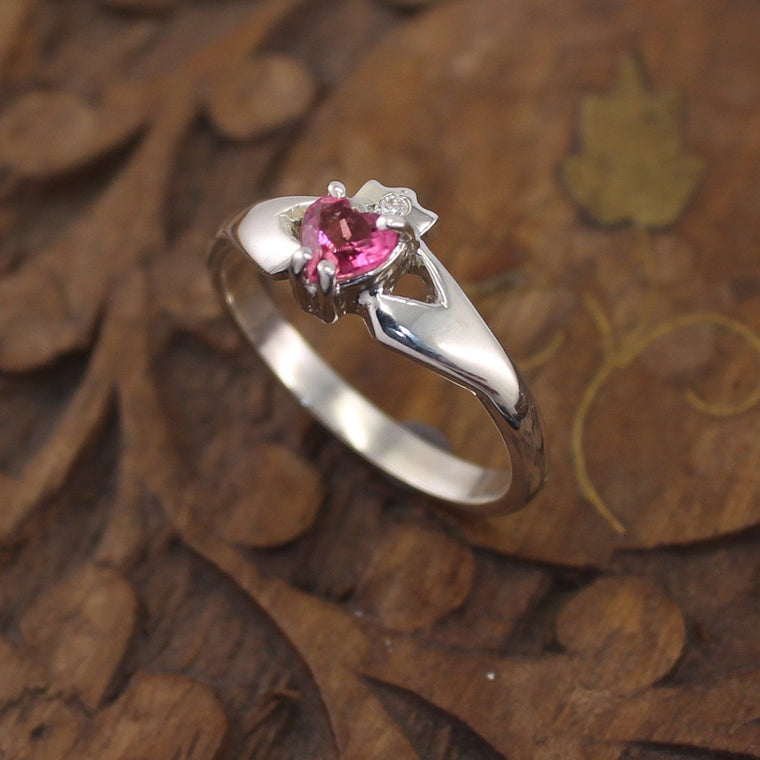 Jewelry - Claddagh Ring, Ladies Pink Tourmaline And Diamond Silver Claddagh