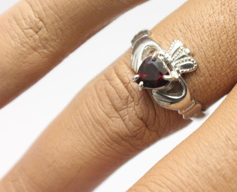 Jewelry - Claddagh Ring, Ladies Silver And Dark Red Garnet Gemstone Claddagh Ring