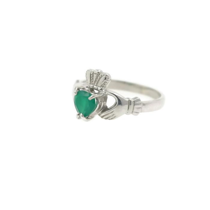 Jewelry - Claddagh Ring, Ladies Silver And Green Agate Claddagh Ring