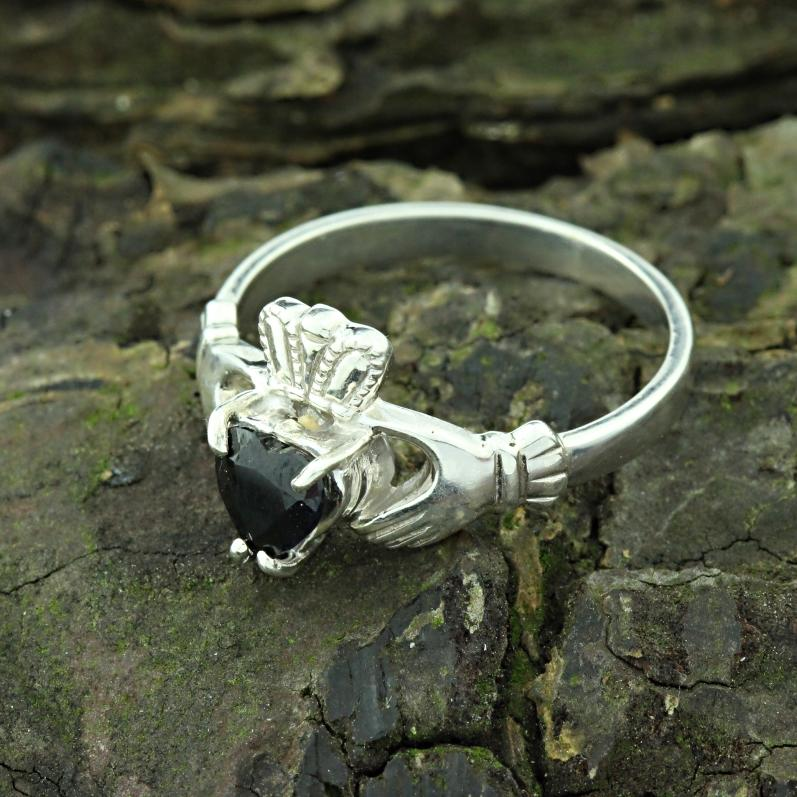 Jewelry - Claddagh Ring, Ladies Silver And Real Black Sapphire Claddagh Ring