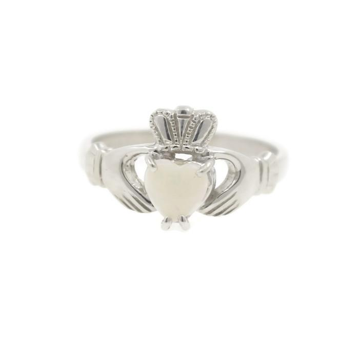 Jewelry - Claddagh Ring, Ladies Silver And Real Opal Claddagh Ring