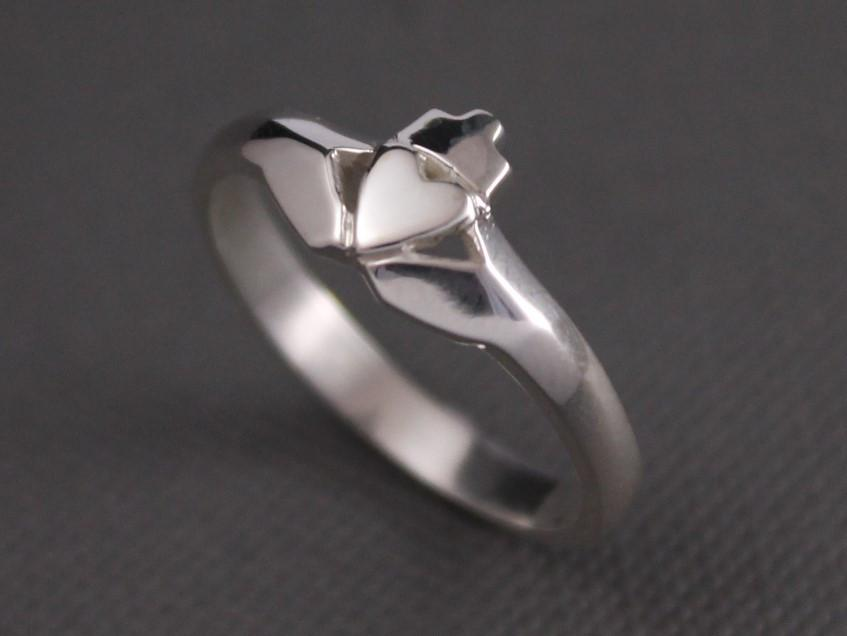Jewelry - Claddagh Ring, Ladies Silver Claddagh Ring In A Modern Contemporary Style