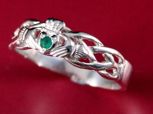 Jewelry  - Claddagh Ring, Ladies Silver Claddagh Ring On Celtic Rope Band. Set With A Green Natural Emerald Gemstone.