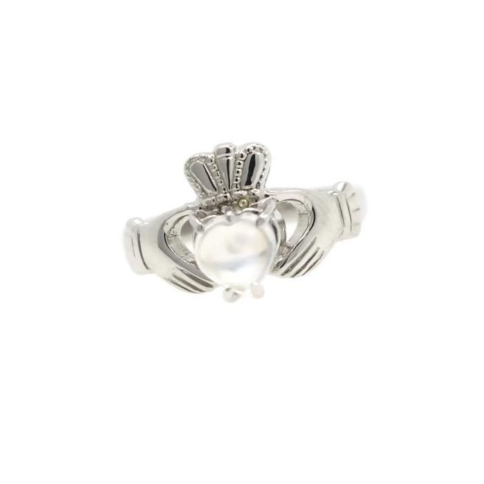 Jewelry - Claddagh Ring, Ladies Silver Claddagh Ring, Set With A Real Moonstone.