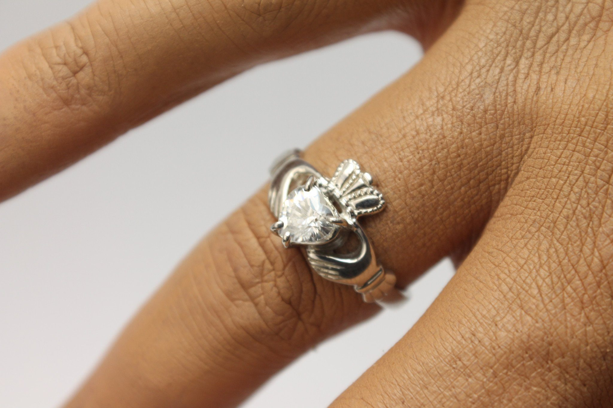 90d64cc70 Jewelry - Claddagh Ring, Ladies Silver Claddagh Ring, Set With Cubic  Zirconia Stone.
