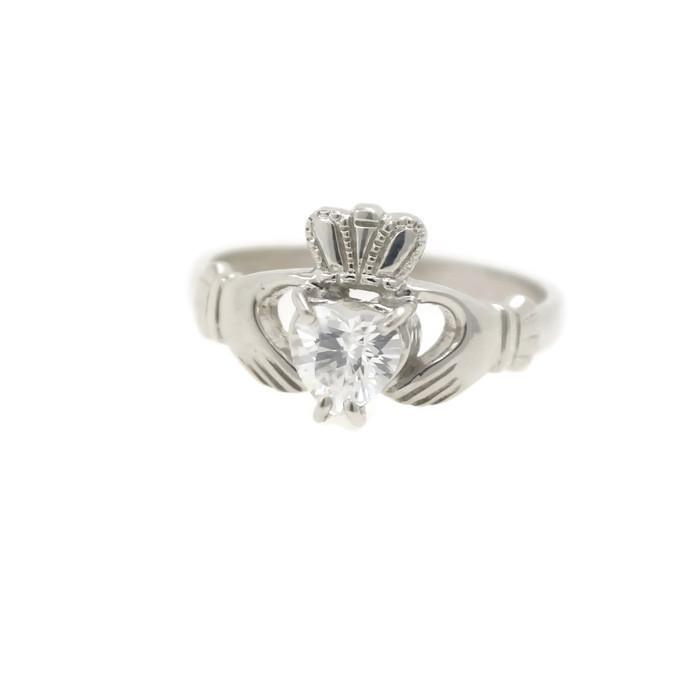 Jewelry  - Claddagh Ring, Ladies Silver Claddagh Ring, Set With Cubic Zirconia Stone.